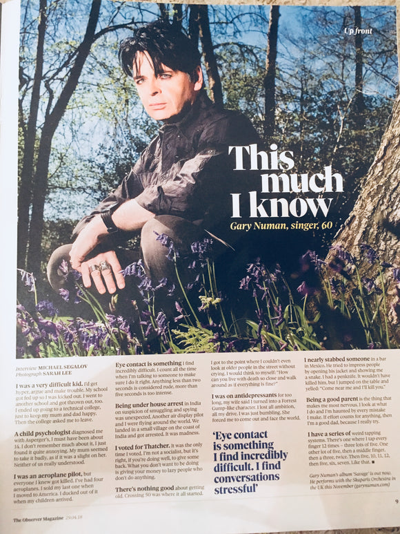 UK OBSERVER Magazine APRIL 2018: GARY NUMAN Interview