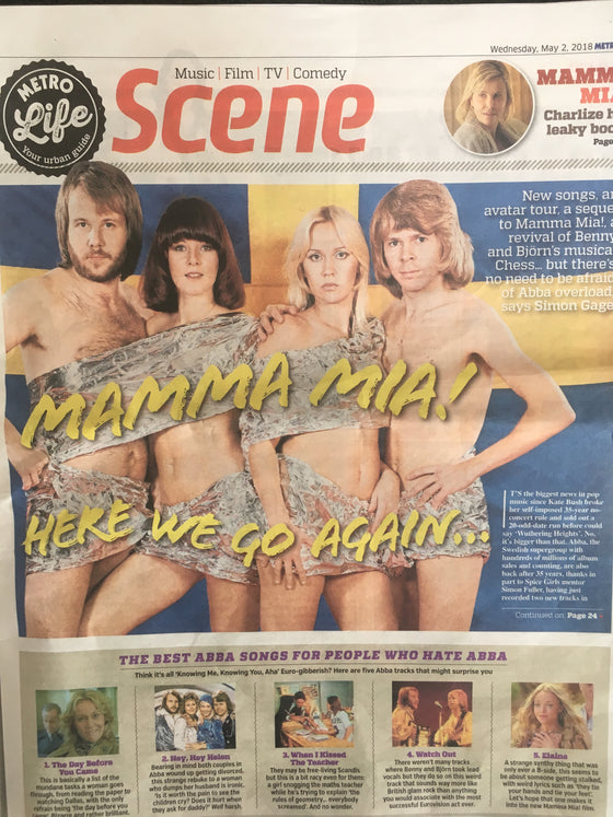 Abba! Are Back! UK Metro May 2nd 2018