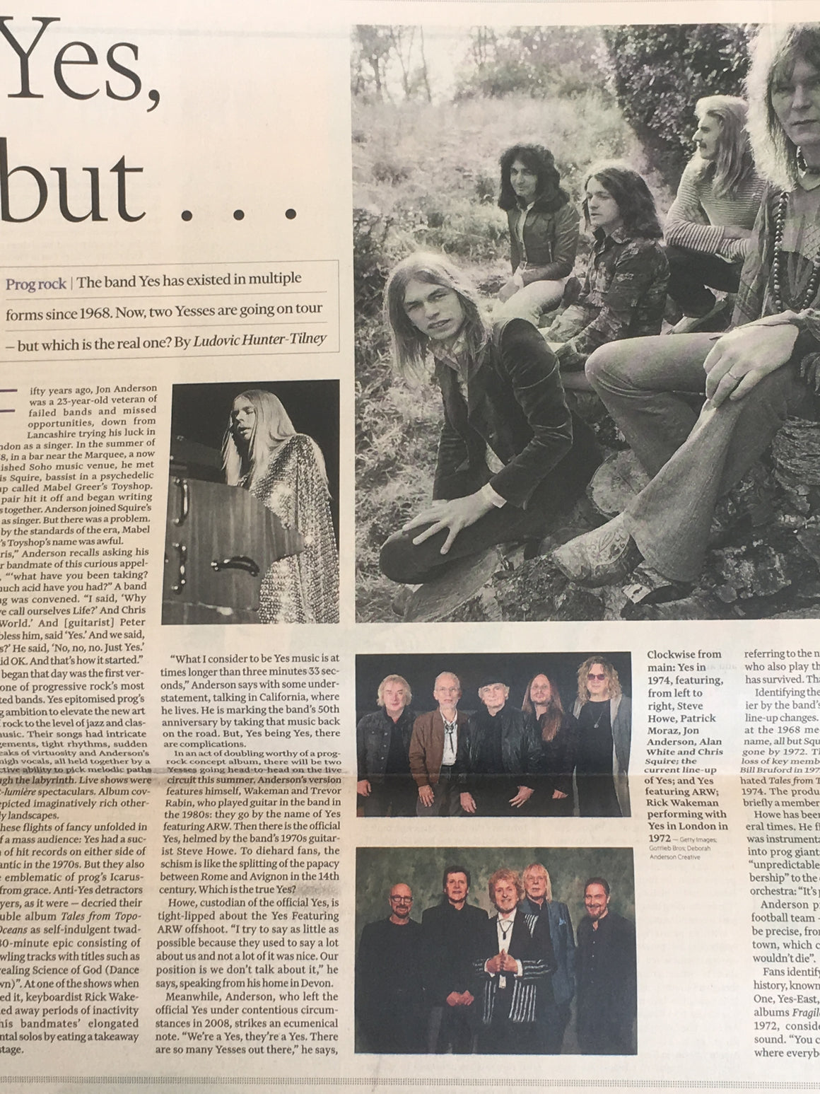 YES - The 50th Anniversary Tour UK FT Life & Arts Supplement May 2018