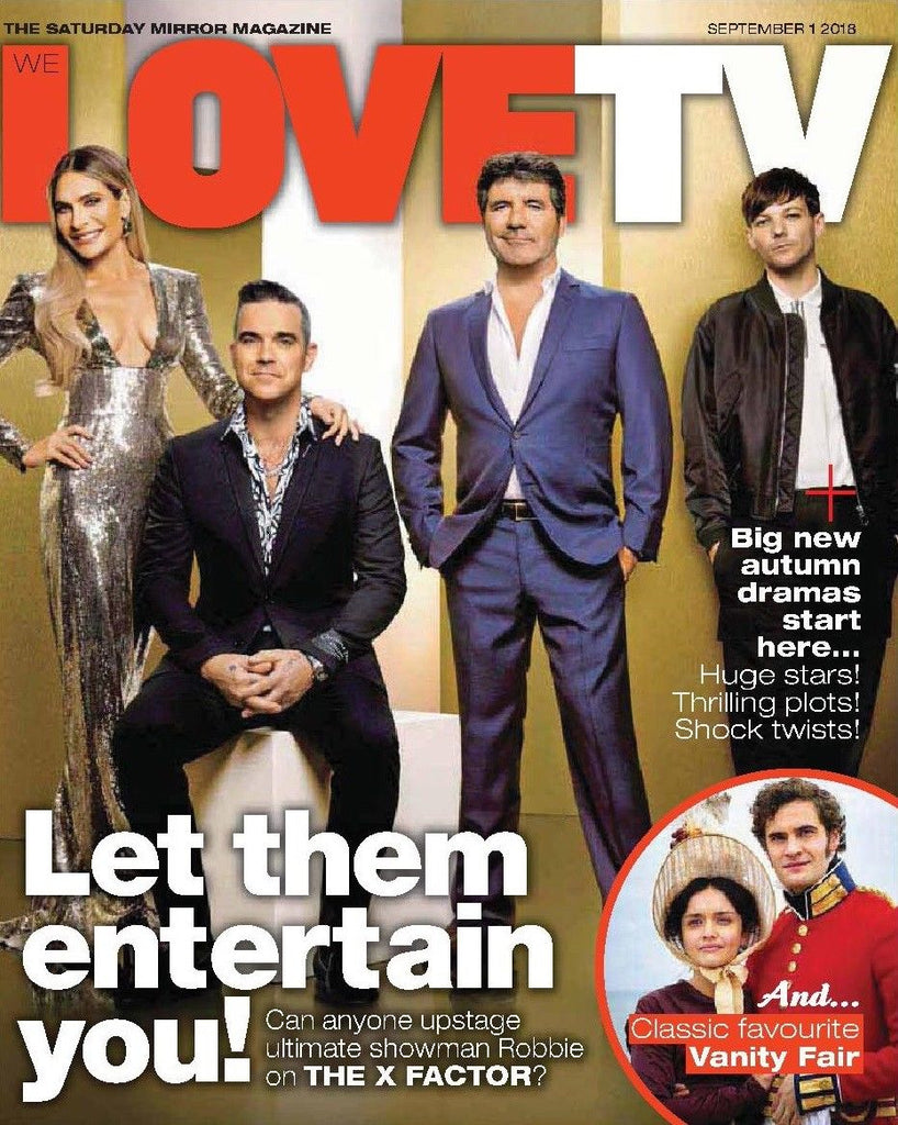 UK We Love TV Mag September 2018: ROBBIE WILLIAMS Louis Tomlinson SIMON COWELL