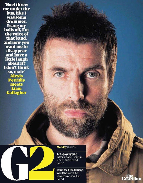UK Guardian G2 February 2018: LIAM GALLAGHER Oasis I'M WITH HER