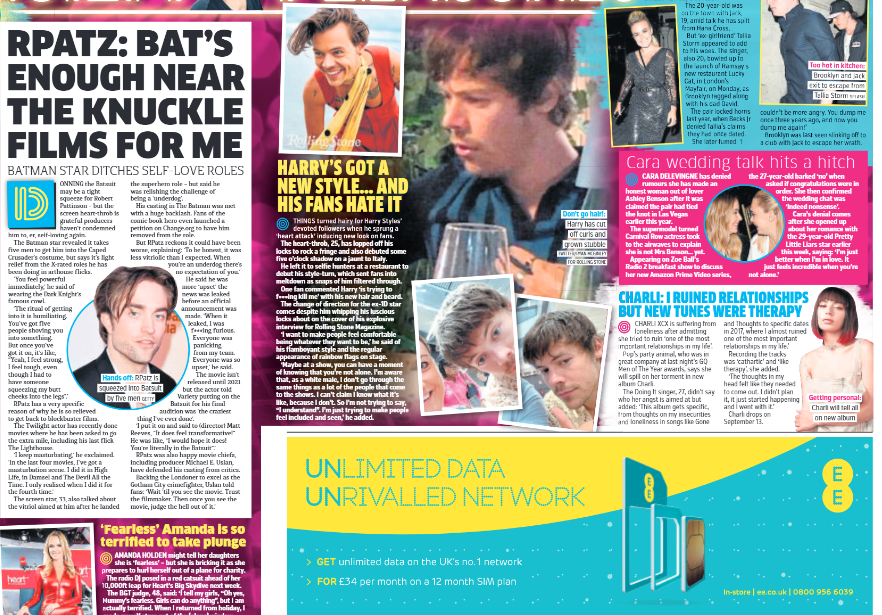 Metro Newspaper 4th Sept 2019: JAMES MCAVOY Harry Styles MARTIN FREEMAN Robert Pattinson