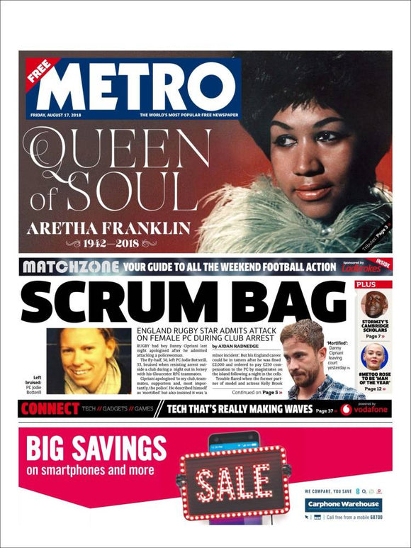New UK Aretha Franklin Tribute Metro Newspaper Cover (17th August 2018)