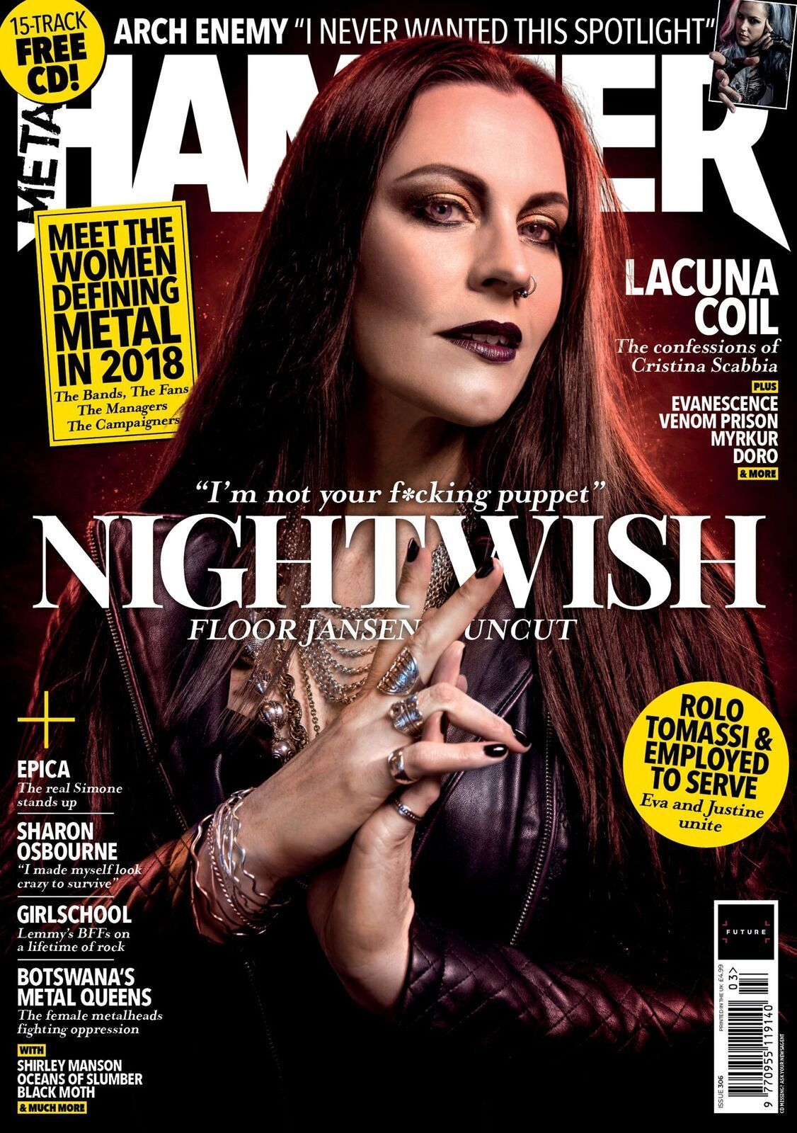 Metal Hammer Magazine MARCH 2018 NIGHTWISH Epica MYRKUR Ville Valo LACUNA COIL