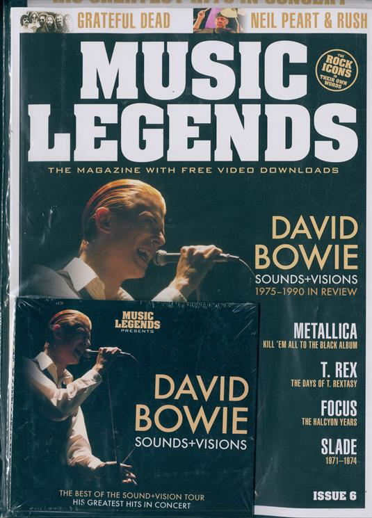 Music Legends Magazine #6 - David Bowie + Free Greatest Hits In Concert CD - Neil Peart (Rush)