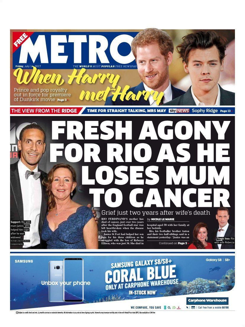 Metro Newspaper 14th July 2017 Harry Styles meets Prince Harry Dunkirk