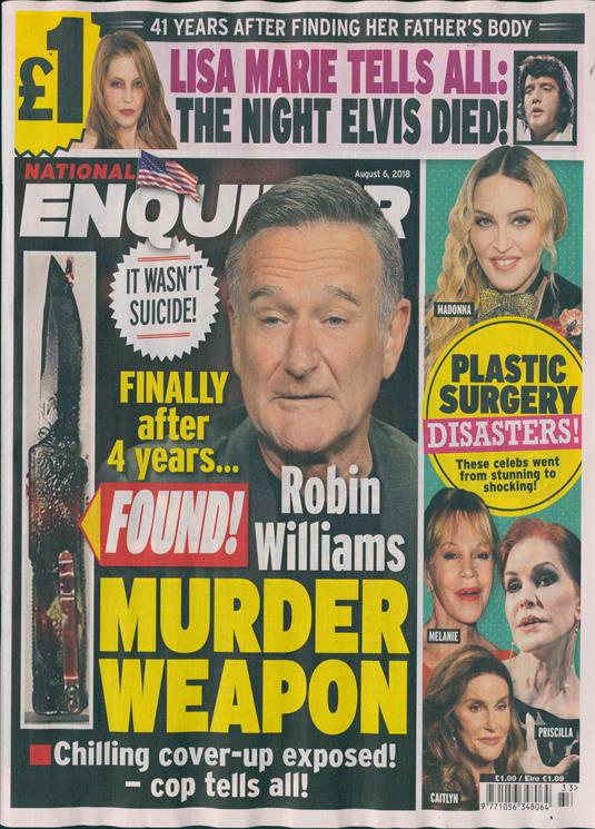 National Enquirer Magazine Issue 06/08/2018 Robin Williams Madonna