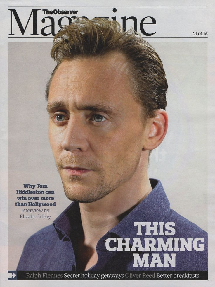 TOM HIDDLESTON PHOTO INTERVIEW UK OBSERVER MAGAZINE JANUARY 2016 NEW