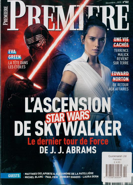 French Premiere magazine #502: STAR WARS: RISE OF THE SKYWALKER DAISY RIDLEY ADAM DRIVER