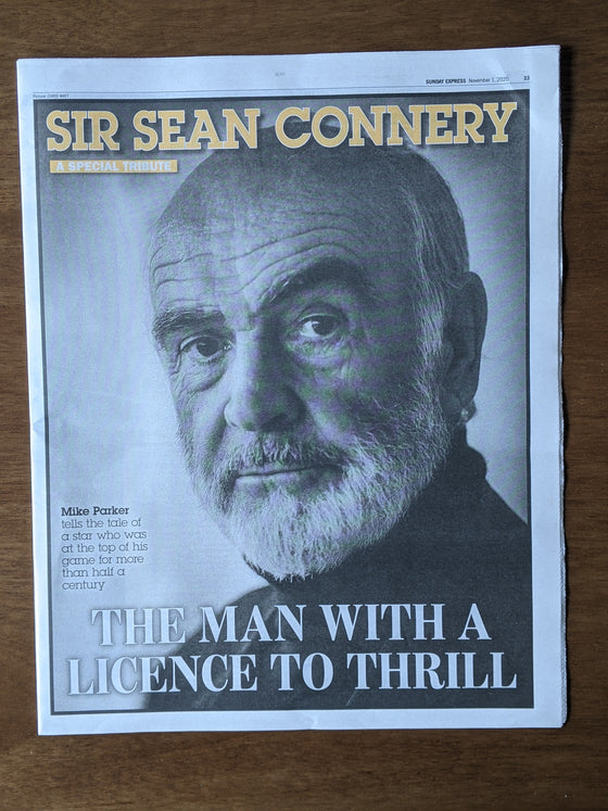 Sunday Express Newspaper 1st November 2020 - Death of James Bond - Sean Connery
