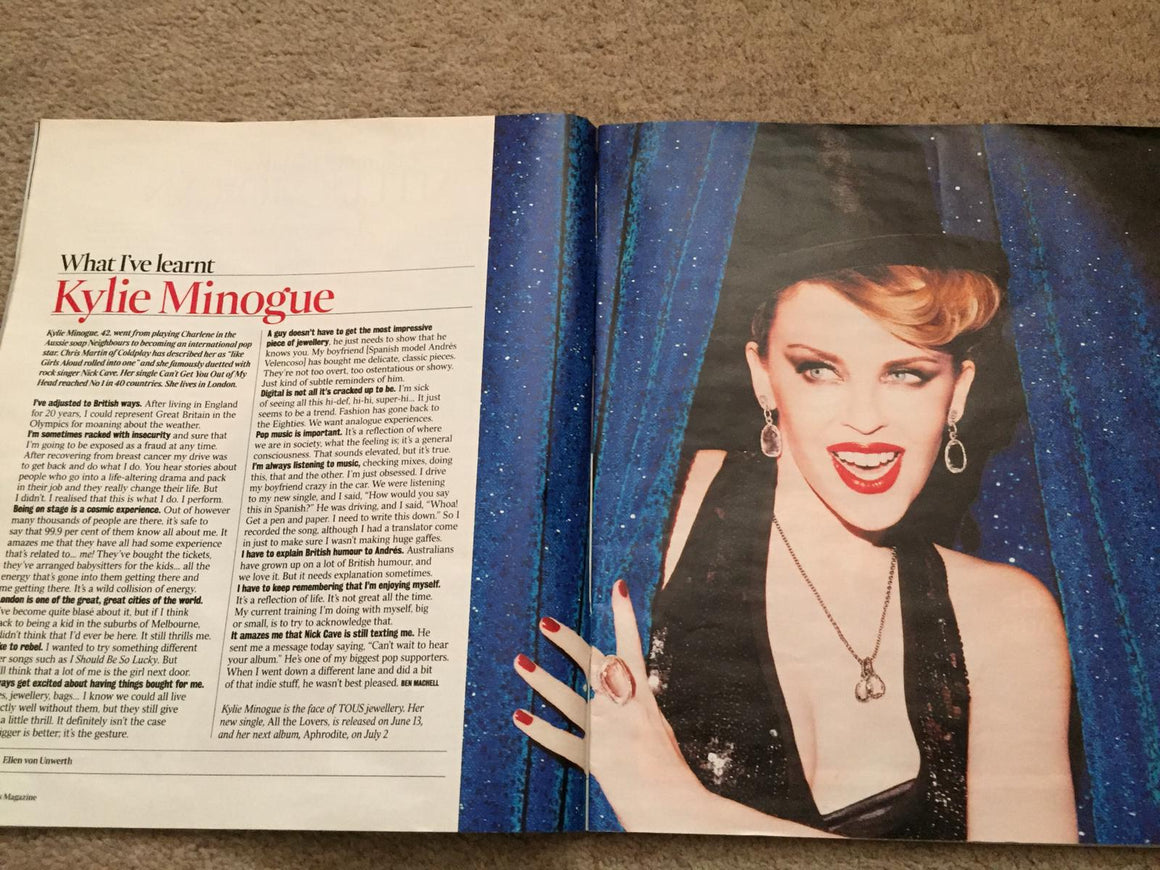 UK TIMES Magazine Date: JUNE 19 2010: Kylie Minogue