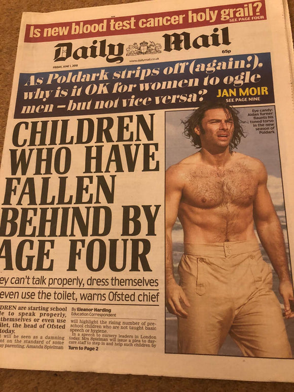 Daily Mail Newspaper June 1 2018 Aidan Turner Poldark