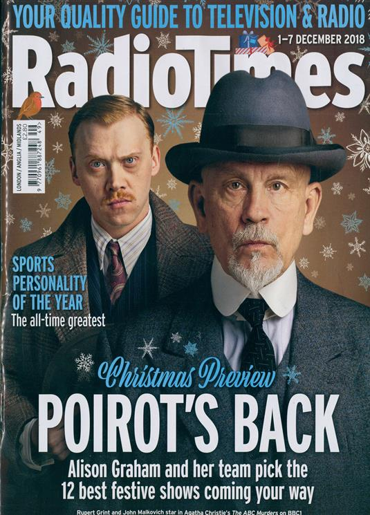 UK Radio Times Magazine 1 Dec 2018: John Malkovich Rupert Grint Poirot Returns