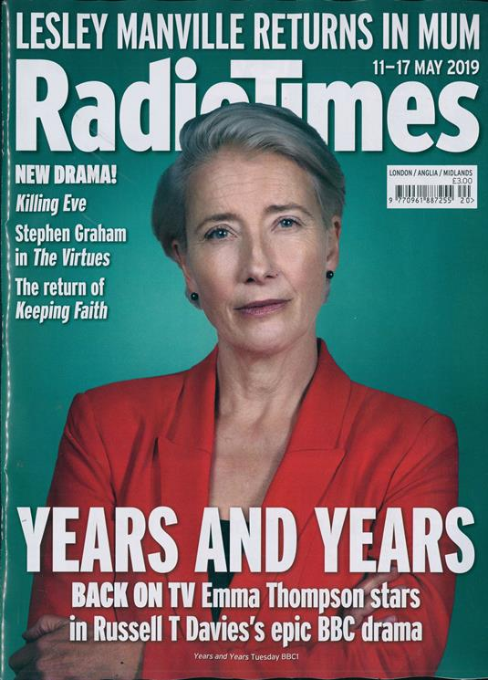 RADIO TIMES MAGAZINE 11 May 2019 Emma Thompson Jodie Comer Mads Mikkelsen