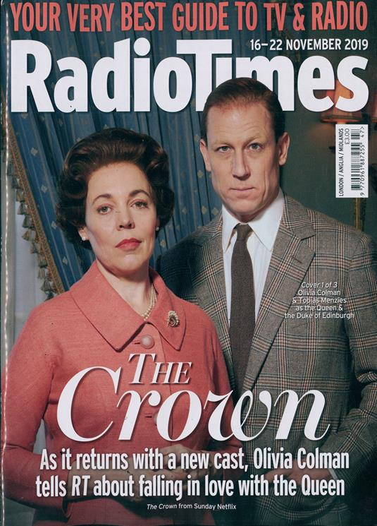 RADIO TIMES Magazine 16 Nov 2019: TOBIAS MENZIES Olivia Colman THE CROWN #1