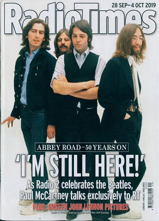 Radio Times Magazine 28 Sept 2019: THE BEATLES - ABBEY ROAD - 50 YEARS ON