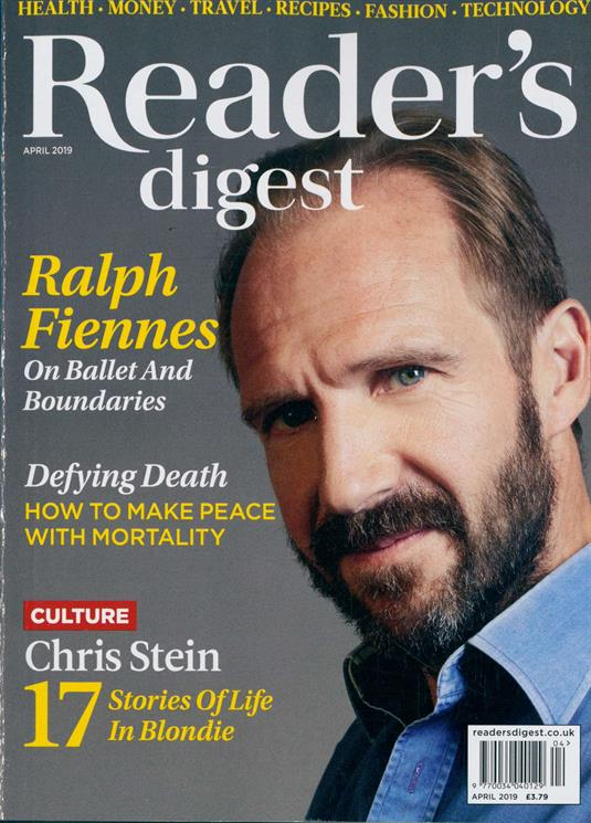 UK Reader's Digest April 2019: RALPH FIENNES Rudolf Nureyev Cover Interview