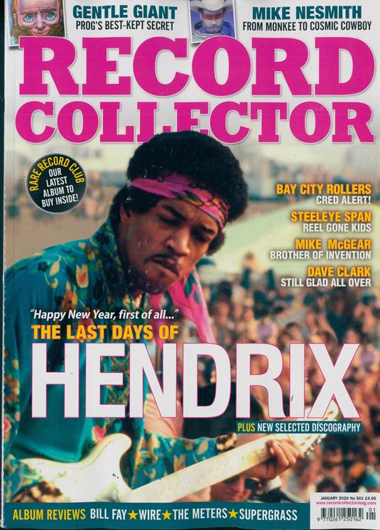 RECORD COLLECTOR magazine Jan 2020: JIMI HENDRIX Bay City Rollers GENTLE GIANT