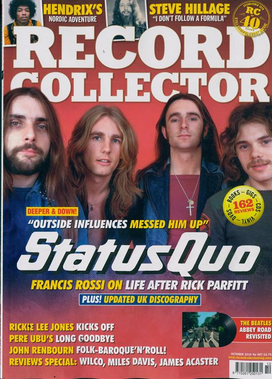 RECORD COLLECTOR magazine October 2019 - Status Quo Franics Rossi The Beatles