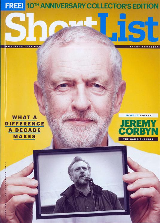 Jeremy Corbyn on the cover of Shortlist Magazine