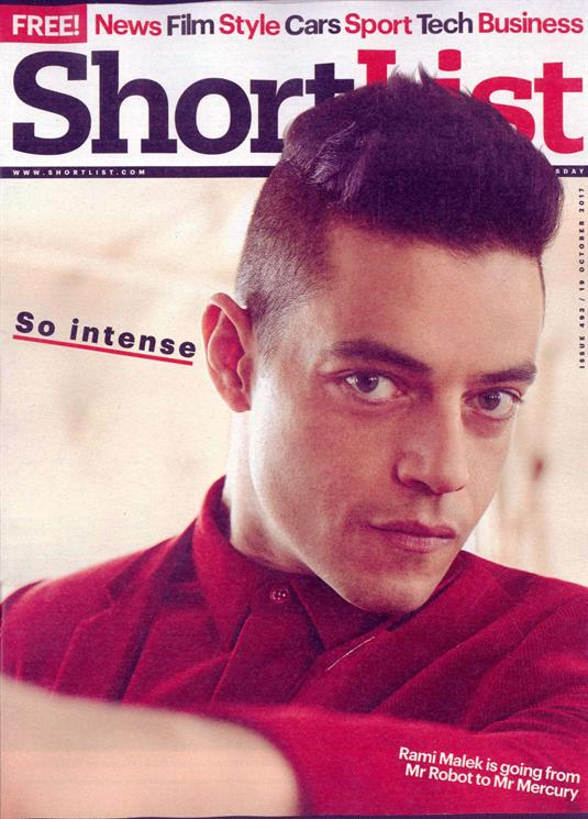 Rami Malek on the cover of Shortlist Magazine