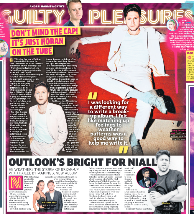 Metro Newspaper 13th March 2020: Niall Horan One Direction
