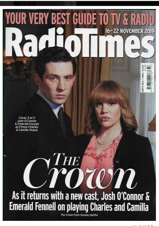 RADIO TIMES Magazine 16 Nov 2019: JOSH O'CONNOR Emerald Fennell THE CROWN #3