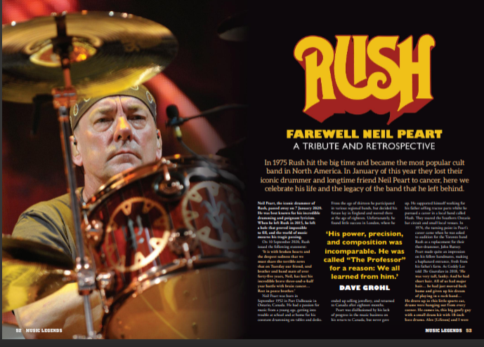 UK Music Legends Magazine #6 Neil Peart (Rush) Special Tribute Feature