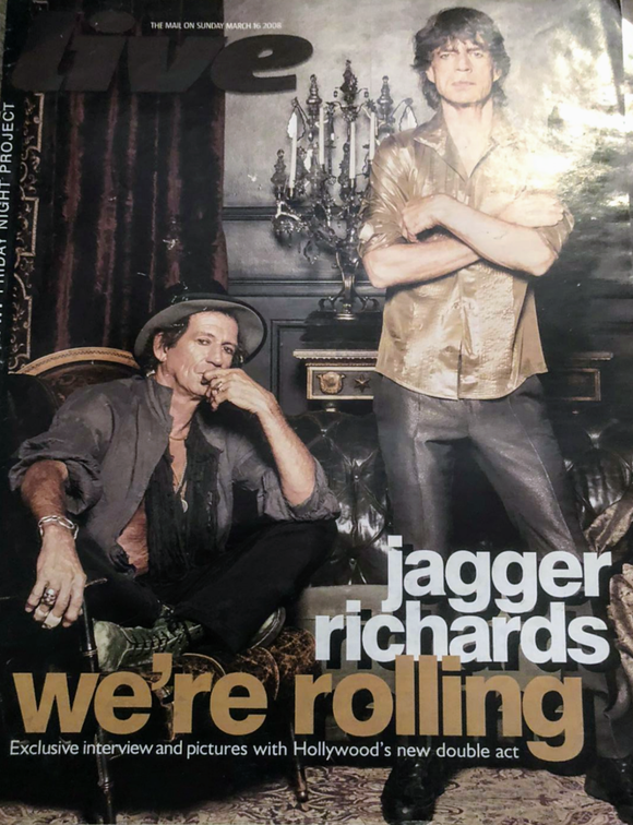 Live magazine - The Rolling Stones Keith RIchards Mick Jagger cover (16 March 2008)