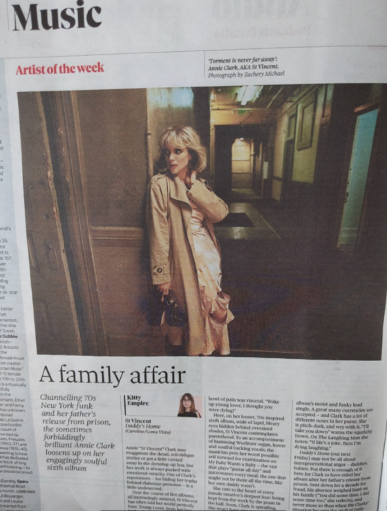 Observer New Review 9th May 2021 ST VINCENT Annie Clark