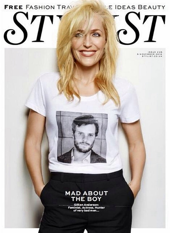 GILLIAN ANDERSON on Jamie Dornan Photo Cover interview STYLIST MAGAZINE 2014