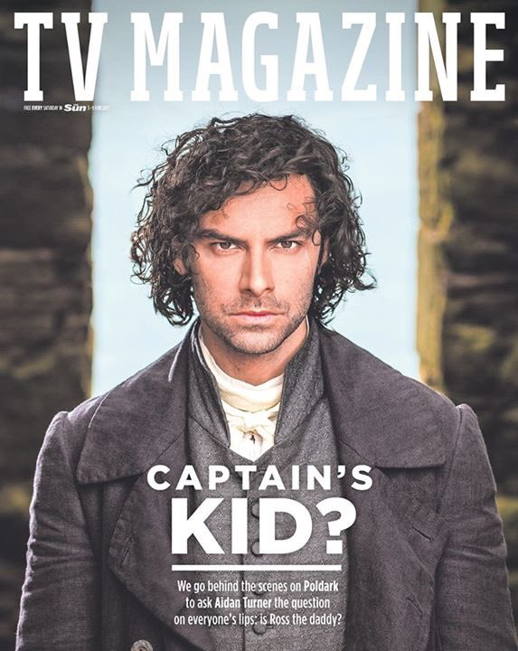 Poldark AIDAN TURNER Photo Cover Interview Sun TV UK magazine 3 June 2017