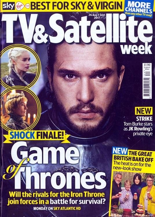 TV & Satellite magazine 26 August 2017 Kit Harington Tom Burke Jenna Coleman Pedro Pascal