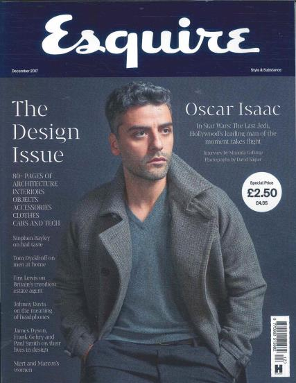 Esquire Magazine December 2017 Star Wars Oscar Isaac UK Regular Cover