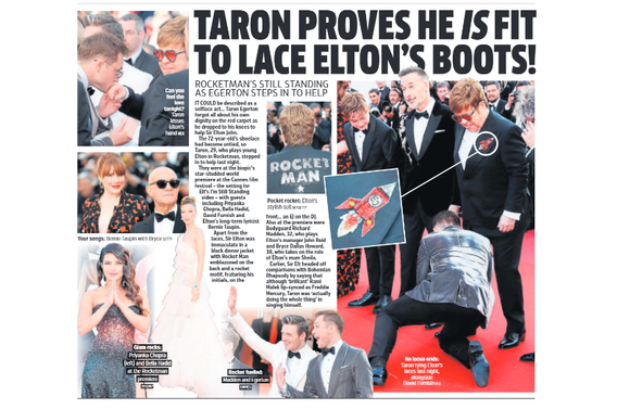 UK Metro 17th May 2019 Sir Elton John - Taron Egerton Richard Madden