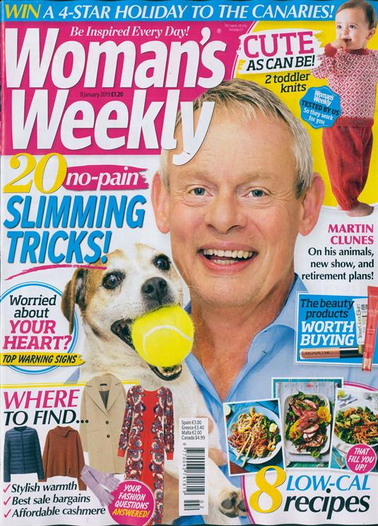 Womans Weekly Magazine 8th January 2019 Martin Clunes Cover