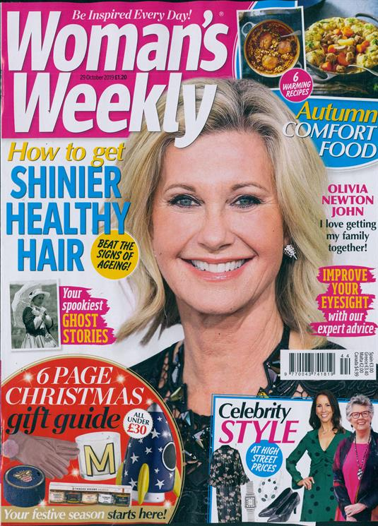 UK Woman's Weekly magazine October 2019: OLIVIA NEWTON JOHN COVER FEATURE