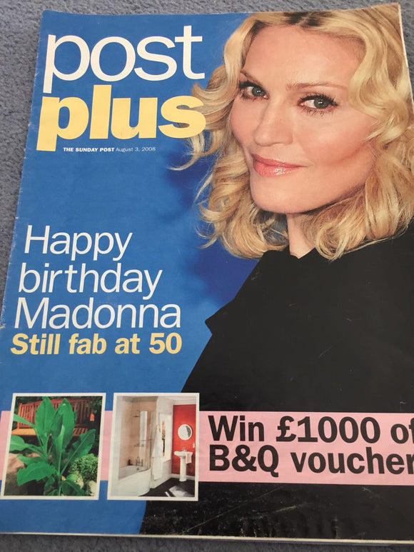 UK Post Plus Magazine August 2008: MADONNA 50th Birthday Cover
