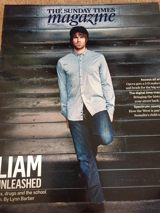 The Sunday Times magazine - Liam Gallagher (Oasis) cover (18 July 2010)