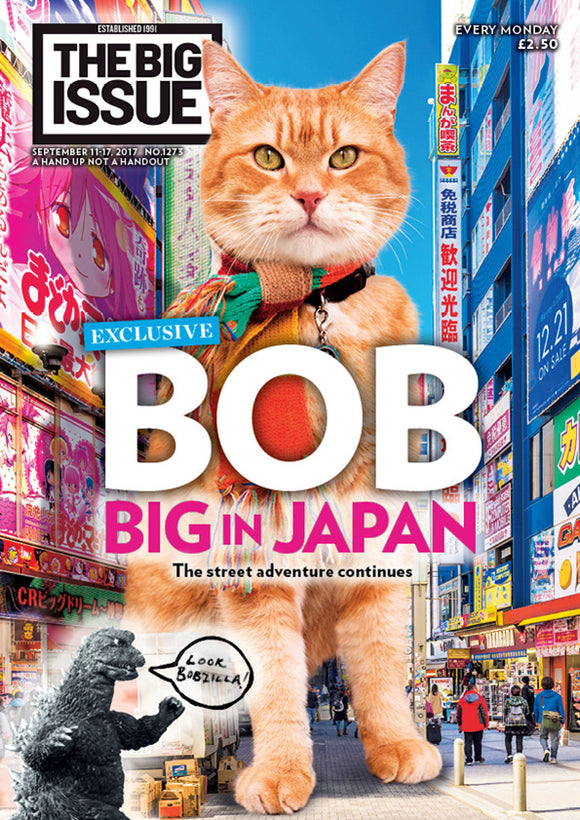Streetcat Bob on the cover of Big Issue Magazine
