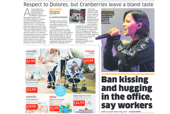 UK METRO NEWSPAPER April 24 2019: BROS (LUKE GOSS) TOM DALEY Dolores O'Riordan