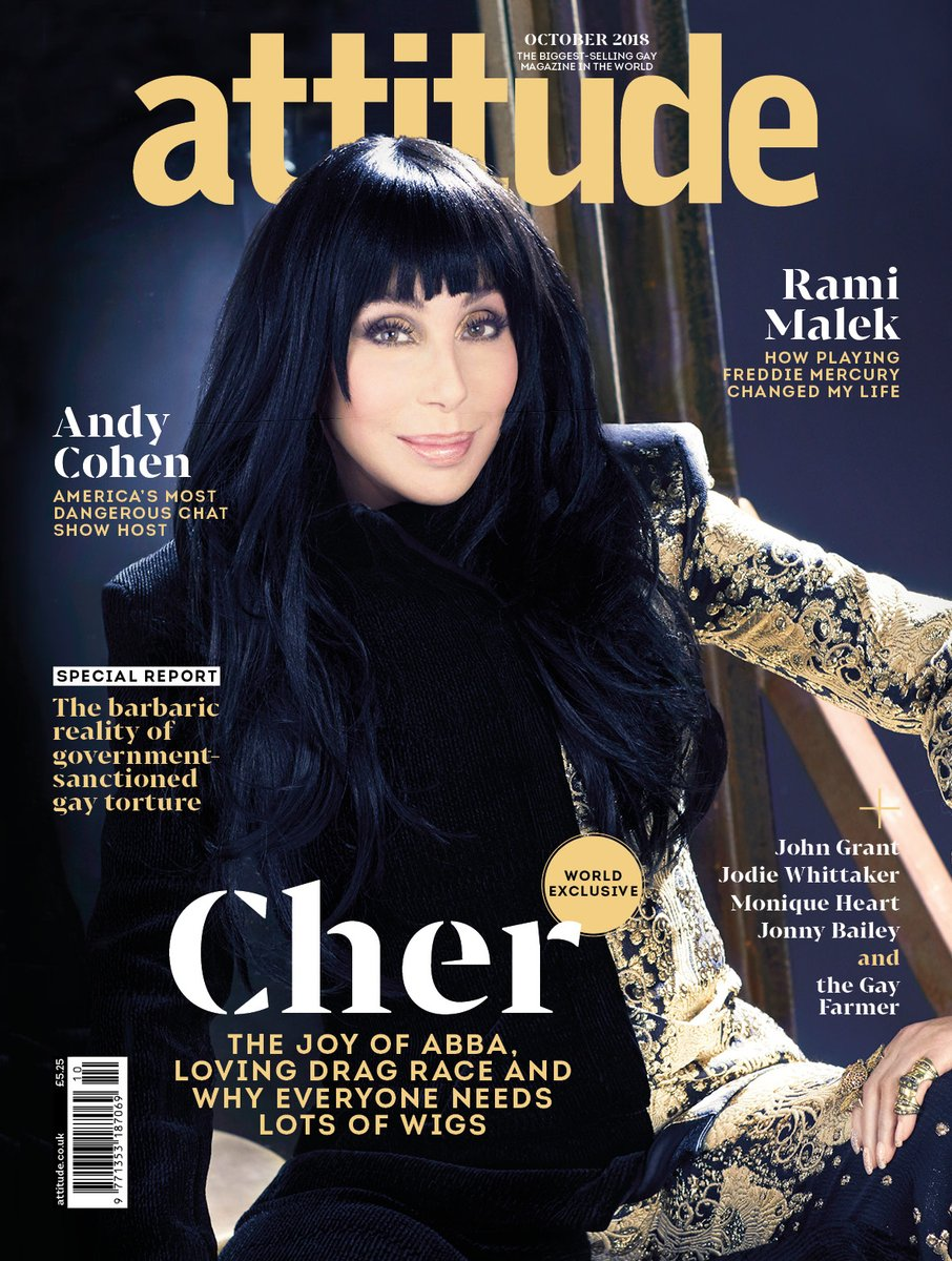 UK Attitude Magazine October 2018: CHER COVER STORY & WORLD EXCLUSIVE INTERVIEW