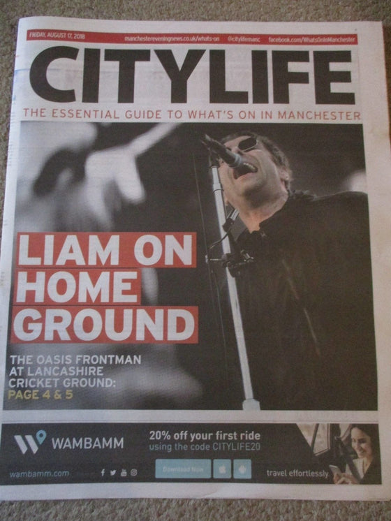 UK Liam Gallagher Manchester City Life Cover August 2018 - Oasis