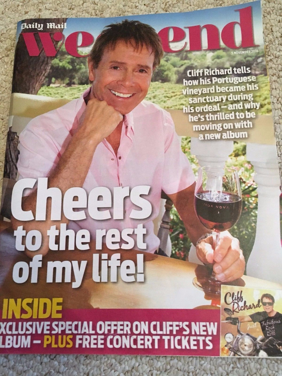 CLIFF RICHARD interview Tom Riley Jim Sturgess UK Weekend Magazine November 2016