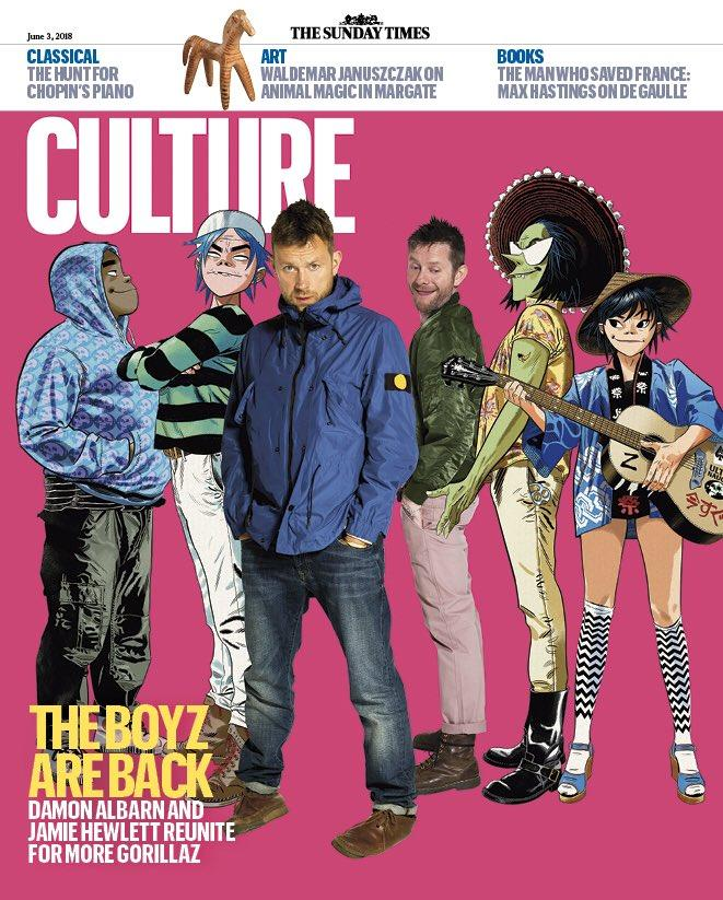 UK Culture Magazine June 2018: THE GORILLAZ UK COVER JAMIE HEWLETT DAMON ALBARN