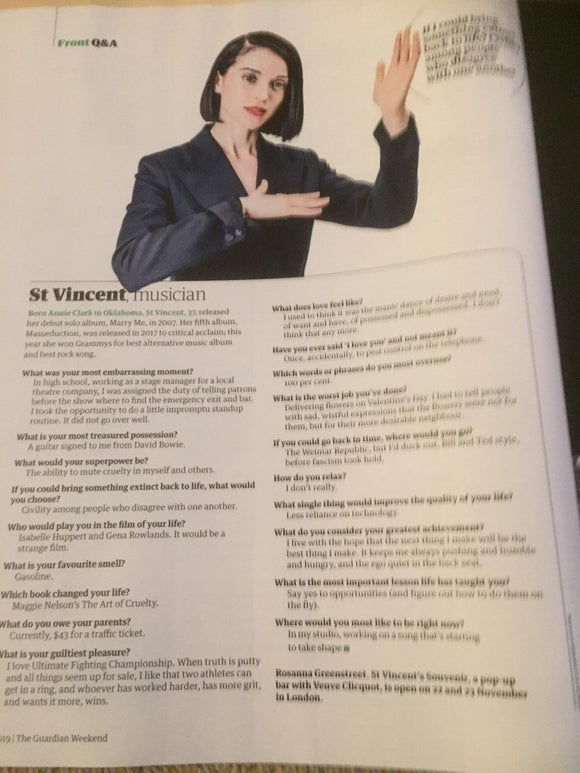 UK Guardian Weekend November 2019: ST VINCENT interview