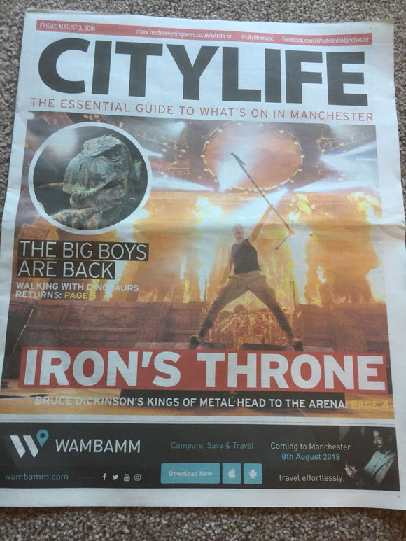 Iron Maiden City Life Cover Story Bruce Dickinson Legacy Of The Beast Promo