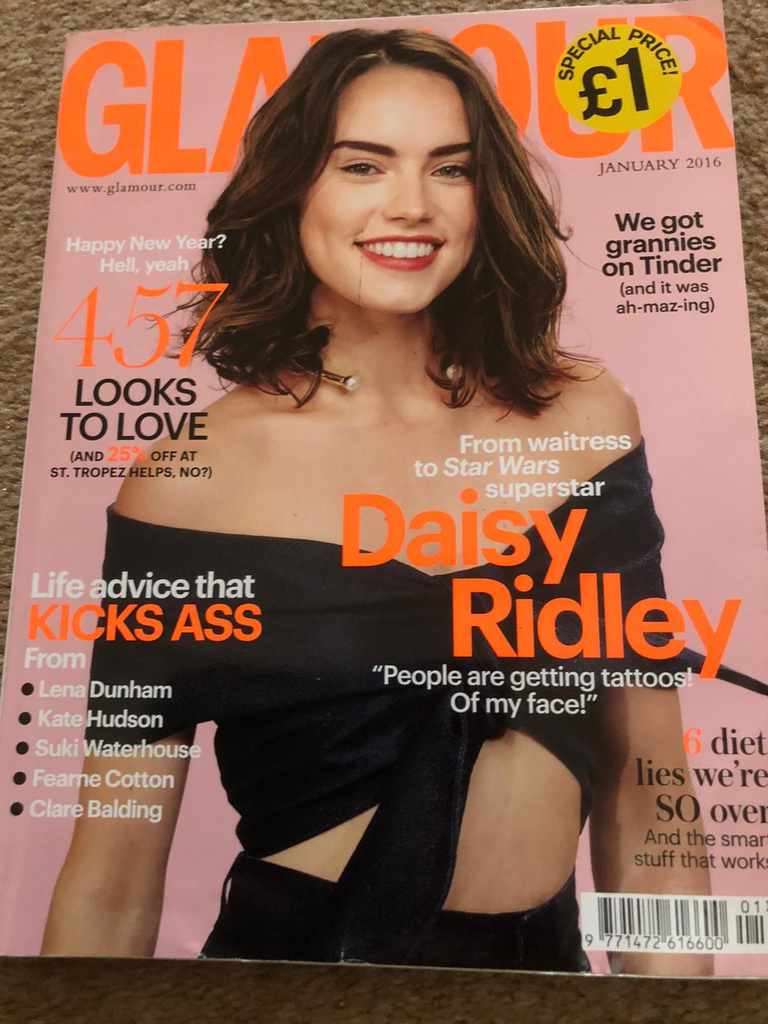 Glamour UK Magazine January 2016 Daisy Ridley Star Wars