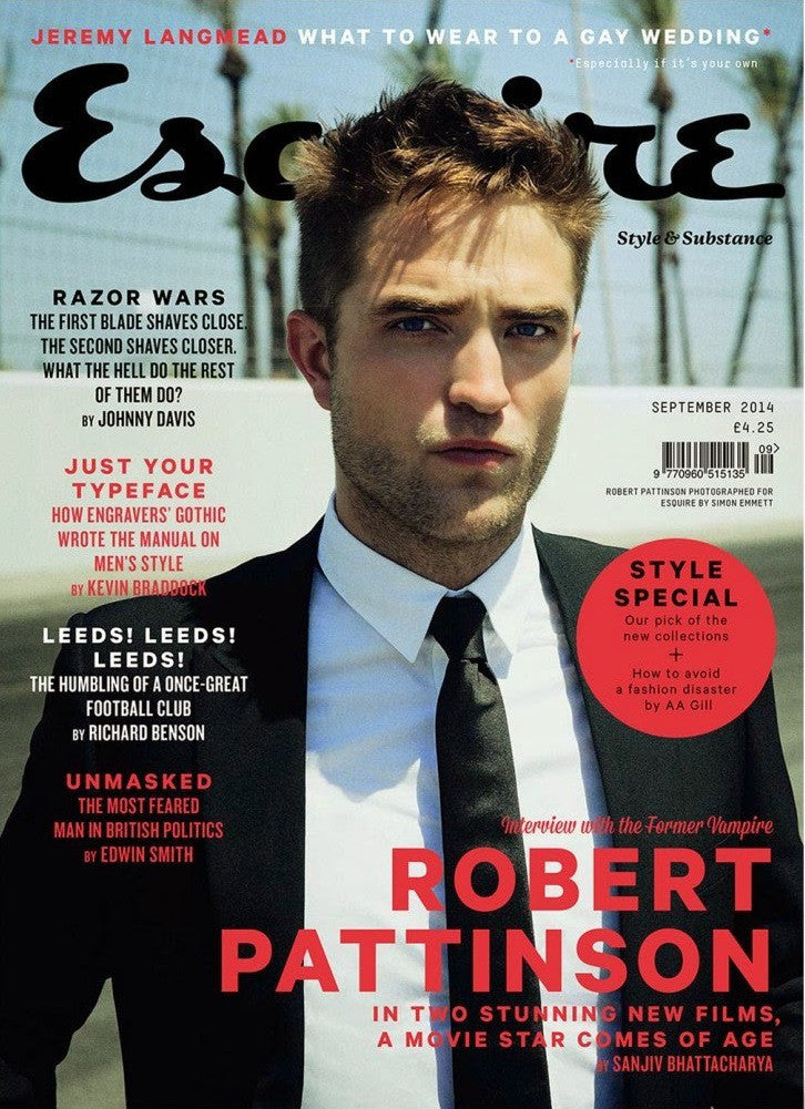 ESQUIRE UK Magazine September 2014 Robert Pattinson Cover Interview