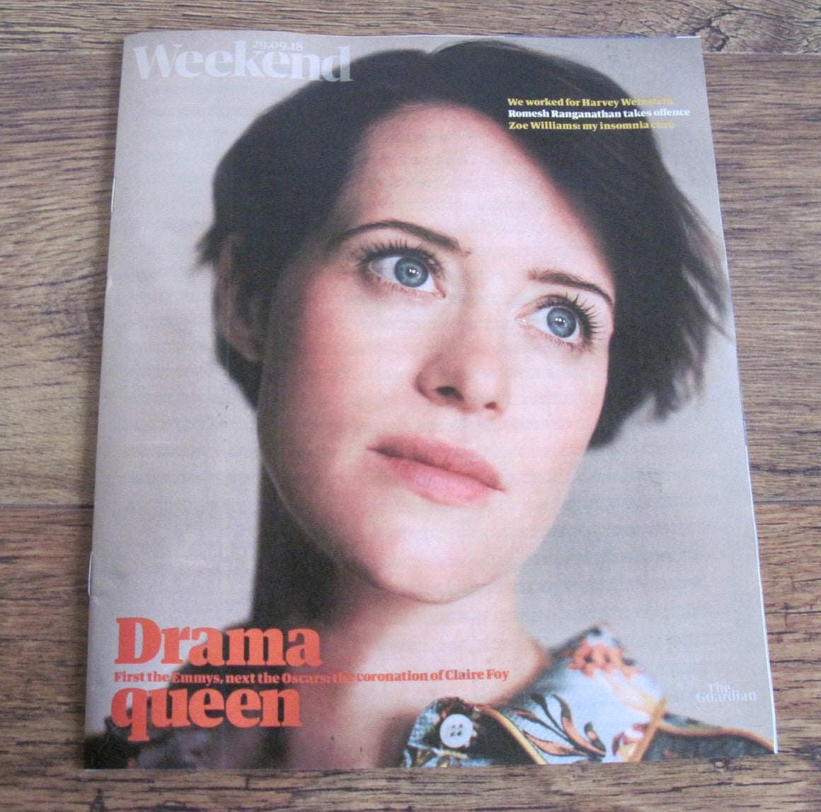 CLAIRE FOY cover and interview Guardian Weekend Magazine Sep 29 2018